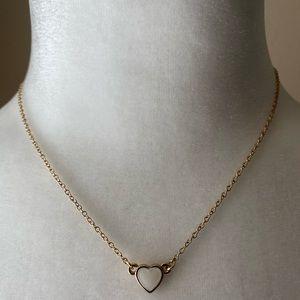 Kate Spade White Enamel Heart Necklace